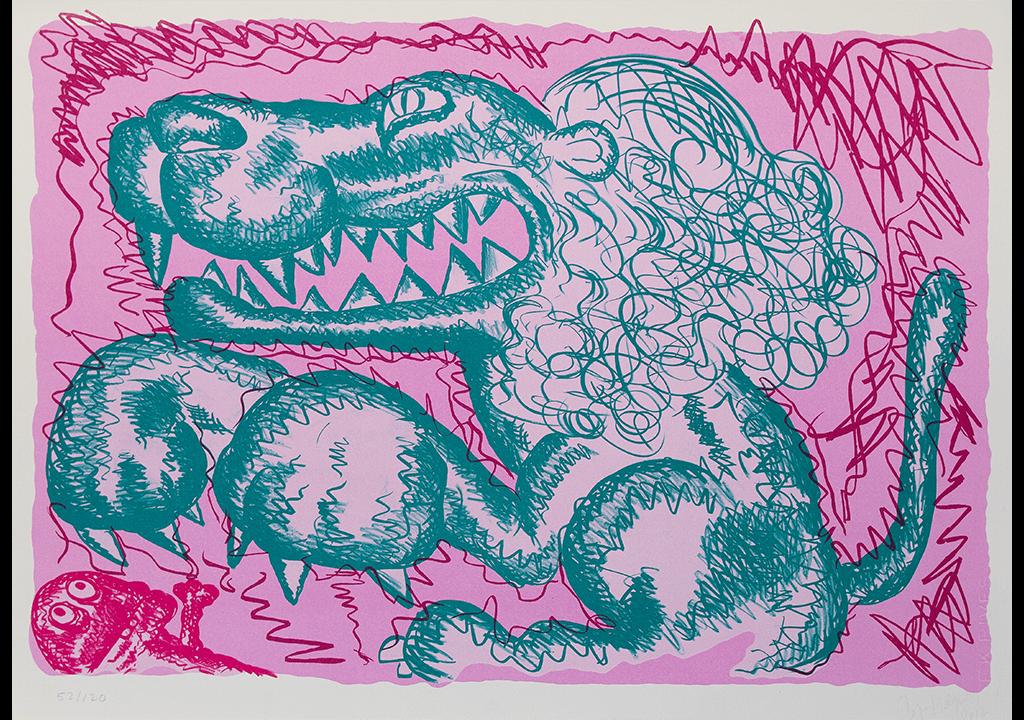 Bjarne Melgaard litografi Pink Panther Hamar Sagbladfabrikk